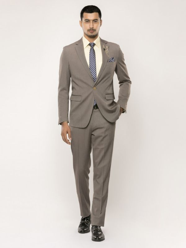 Fossil Grey Colour Tailored Fit Two Piece Suit