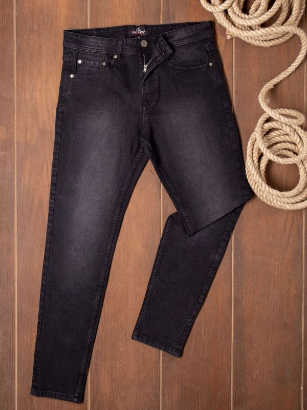 Semi Slim Fit Washed Jeans With Five Pockets