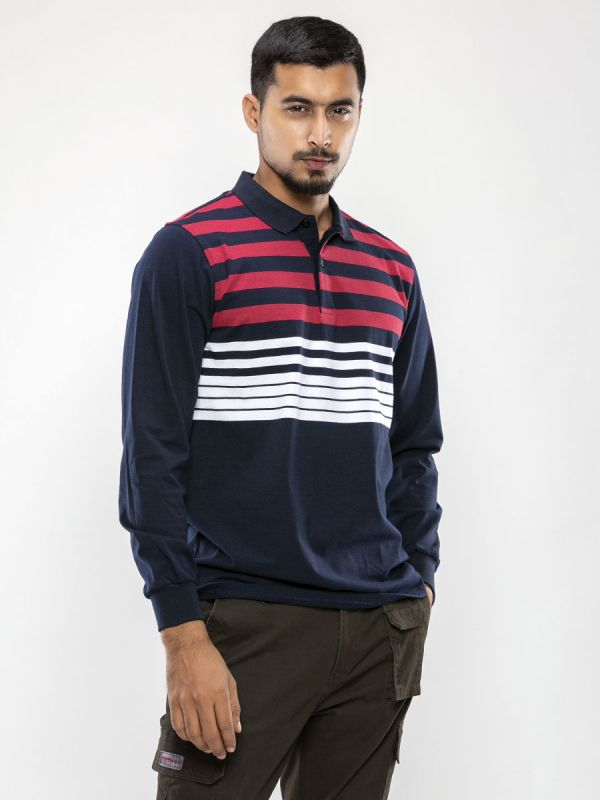 Stripe Full Sleeve Polo T Shirt