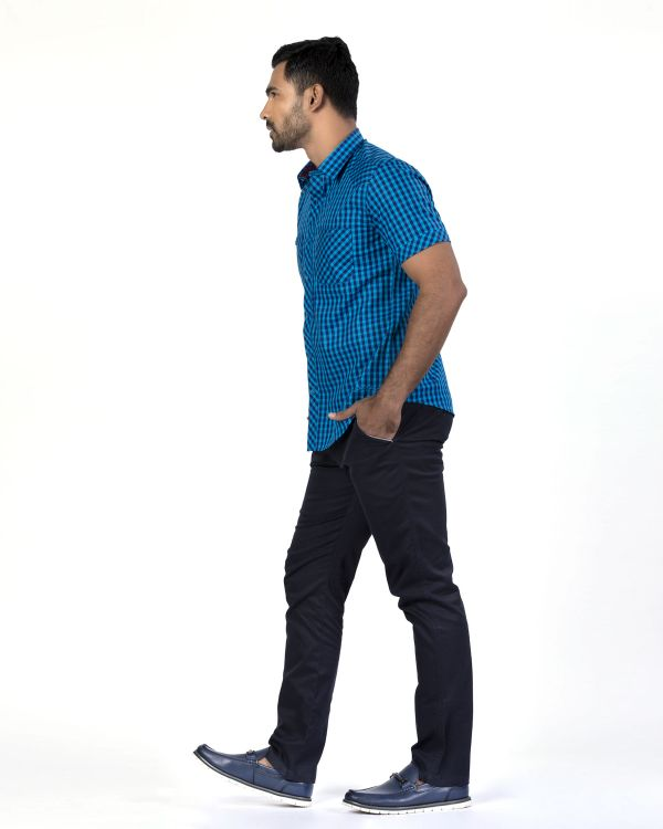 Blue Checked Smart Casual Shirts
