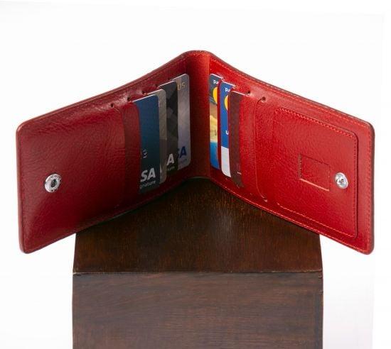 Genuine Leather Folding Card Holder.