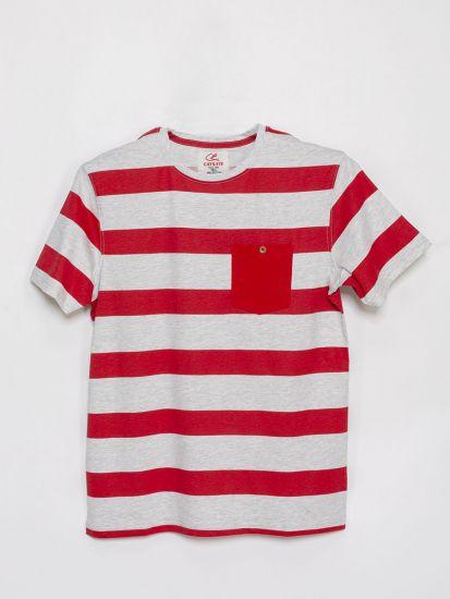 Stripe  Round Neck T Shirt