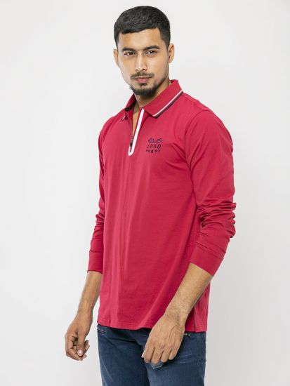 Solid Red Pique Polo T Shirt