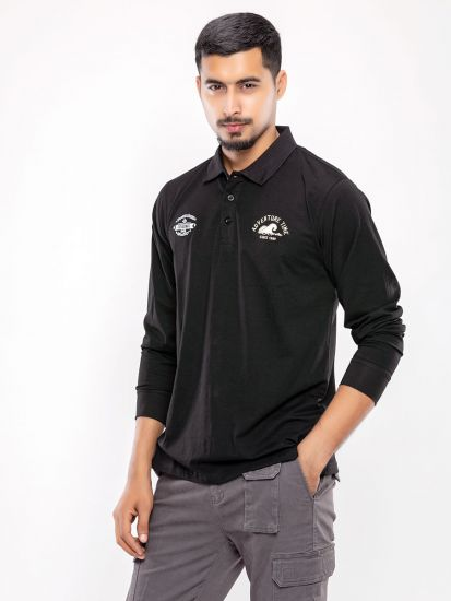Solid Full Sleeve Polo T Shirt
