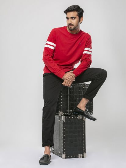 Solid Red Colour Jersey Knit Round Neck T Shirt