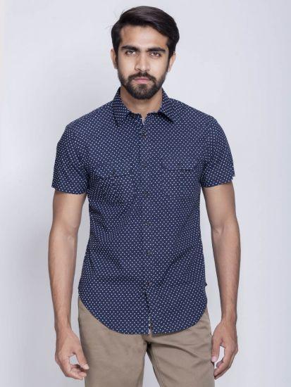 Double pocket half sleeve printed shirt